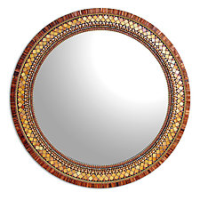 Round Golden Bronze by Angie Heinrich (Mosaic Mirror)