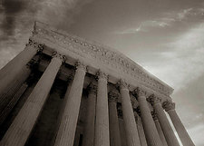 Supreme Court Facade #2 by Mel Curtis (Black & White Photograph)