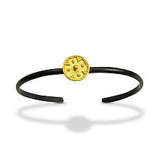 Forged Bracelet with Gold Disk by Nancy Troske (Gold & Silver Bracelet)
