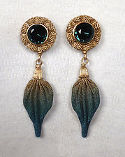 Stone and Leaf Dangle Earrings by Sarah Cavender (Metal Earrings)