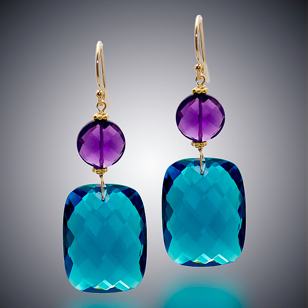 London Blue Quartz and Amethyst Earrings