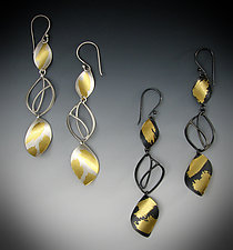 Falling Leaves Earrings by Judith Neugebauer (Gold & Silver Earrings)