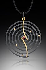 Curved Spiral Pendant by Ilene Schwartz (Gold, Silver, & Stone Necklace)