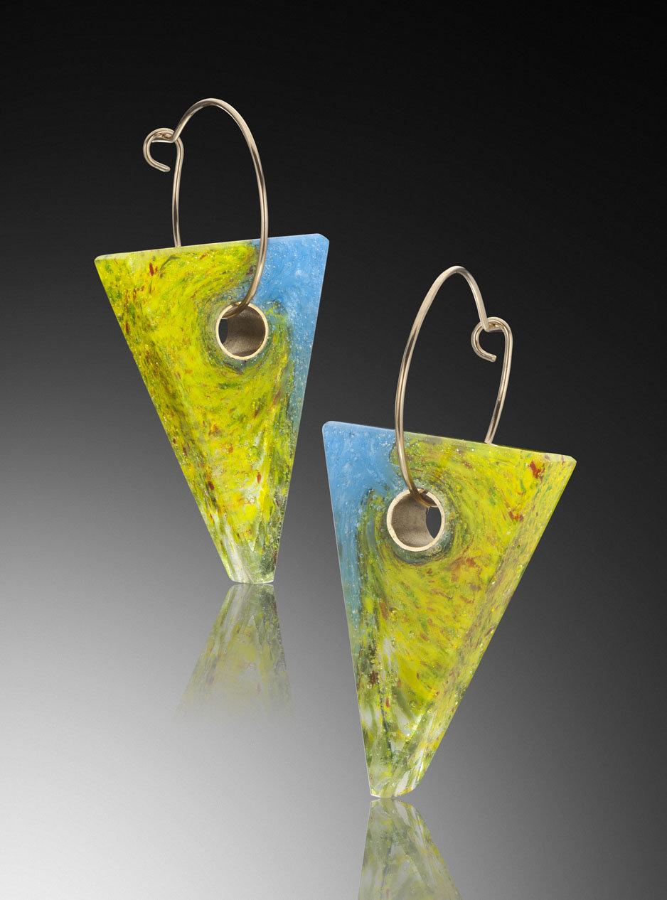 Macaw Earrings By Carol Martin Art Glass Earrings