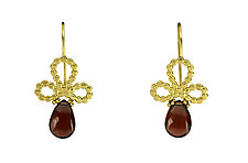 Bubble Bud Earrings with Garnet Drops by Jessica Fields (Gold & Stone Earrings)
