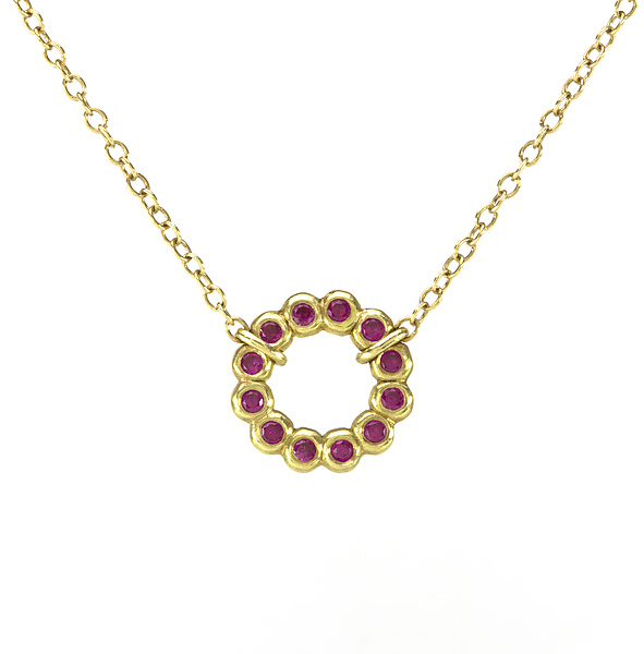 Small Bubble Loop Necklace with Ruby