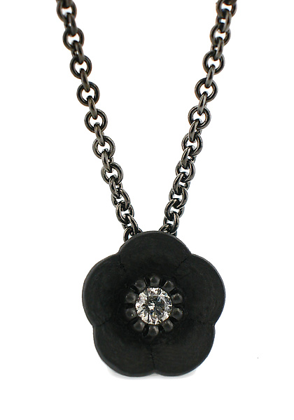 Cherry Blossom Pendant in Blackened Silver with Diamond