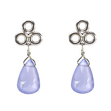 Etruscan Dangle Earrings with Chalcedony by Jessica Fields (Gold & Stone Earrings)