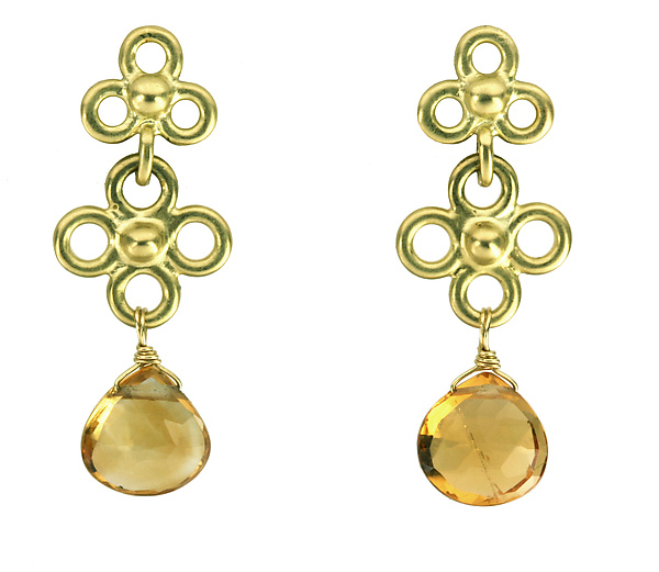 Etruscan Double Dangle Earrings with Citrine