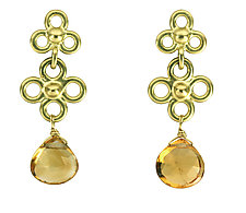 Etruscan Double Dangle Earrings with Citrine by Jessica Fields (Gold & Stone Earrings)