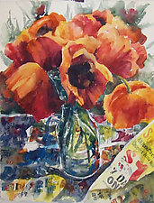 Poppies, Paper and Paint by Terrece Beesley (Watercolor Painting)