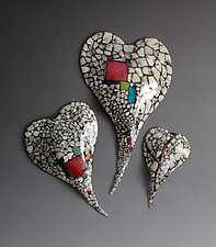 Riverbed Series Glass Hearts by Nina  Cambron (Art Glass Wall Art)