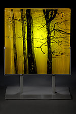 Yellow Forest by Paul Messink (Art Glass Sculpture)
