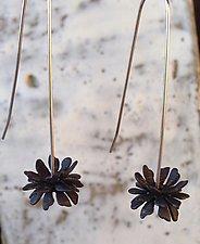 Black Triple Flowers by Rone' Prinz (Silver Earrings)