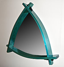 Blue Triangle Mirror by Todd  Bradlee (Wood Mirror)