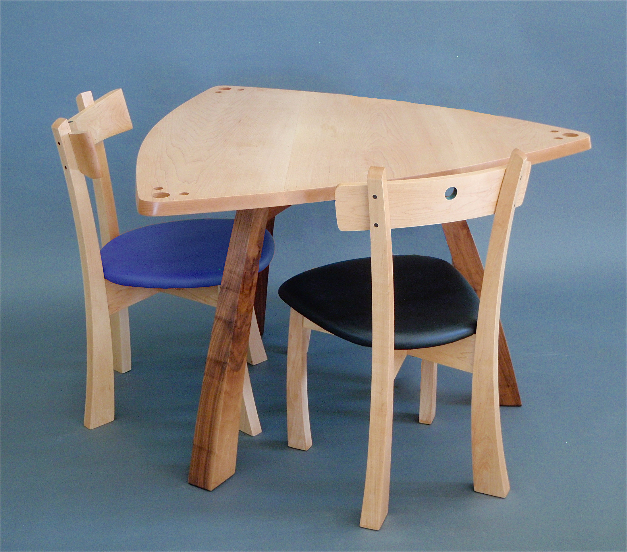 Triangle table with chairs by todd bradlee wood dining set artful