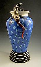 Red-Tailed Skink on Blue Swirl Vase by Lisa Scroggins (Ceramic Vase)