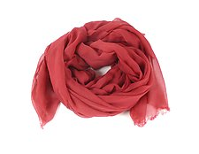 Organic Cotton Light Weight Shawl in Red by Yuh  Okano (Cotton Scarf)