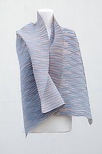 Accordion Drape Pleats Cotton Scarf in Powder and Asphalt by Yuh  Okano (Cotton & Polyester Scarf)