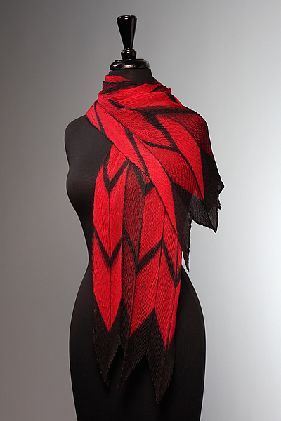 Pleated Red and Black Arrow Scarf