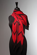 Pleated Red and Black Arrow Scarf by Laura Hunter  (Silk Scarf)