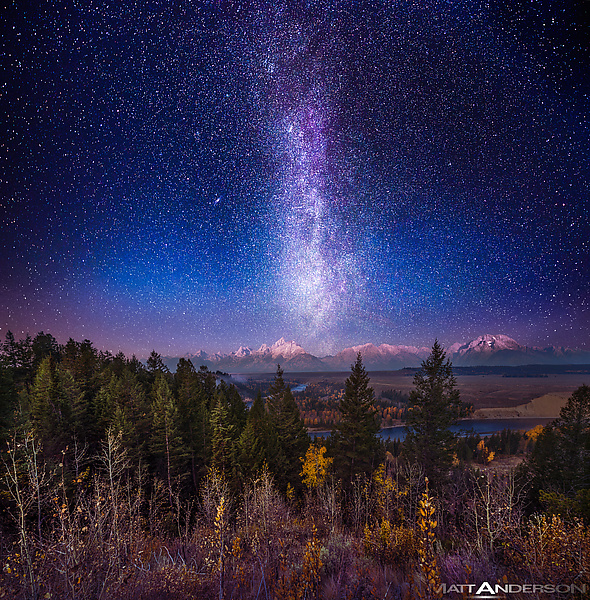 Milky Way Twilight Afterglow over The Grand Tetons