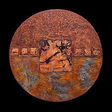 Earth and Fire 18 inch Circle by Kara Young (Mixed-Media Wall Art)