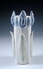 Cobalt Blue Petals on a Porcelain Vase by Carol Barclay (Ceramic Vase)