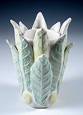 Porcelain Vase Layered in Green and Chartreuse Leaves by Carol Barclay (Ceramic Vase)