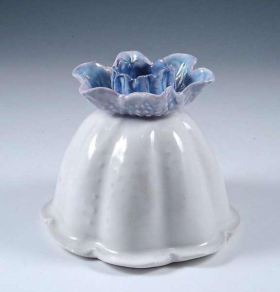 Dancing Porcelain Vase with Sapphire Blue and Lavender Blossom