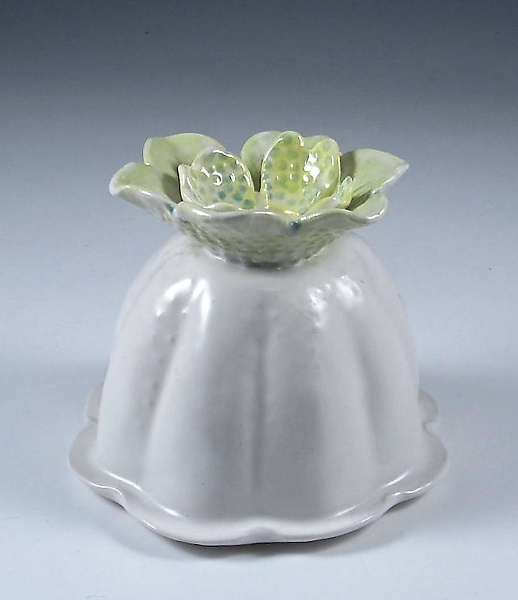 Billowing Porcelain Vase with Chartreuse and Sky Blue Flower