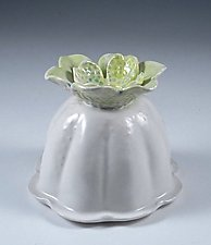 Billowing Porcelain Vase with Chartreuse and Sky Blue Flower by Carol Barclay (Ceramic Vase)