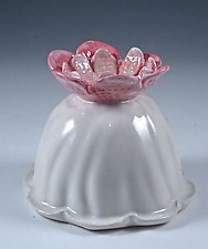 Swirling Porcelain Vase with Scarlet and Rose Pink Bloom by Carol Barclay (Ceramic Vase)