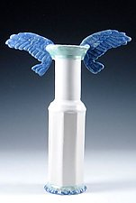 Cobalt Winged Porcelain Vase by Carol Barclay (Ceramic Vase)