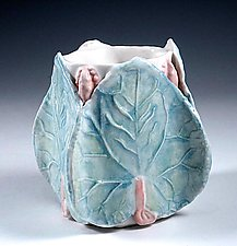 Celadon Porcelain Hosta Vase by Carol Barclay (Ceramic Vase)