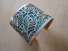 Large Two Tone Plume by Gogo Borgerding (Silver & Aluminum Bracelet)