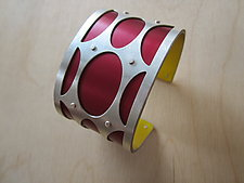 Medium Mod Ovals in Oxblood by Gogo Borgerding (Silver & Aluminum Bracelet)