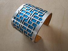 Large Mid Century in Turquoise by Gogo Borgerding (Silver & Aluminum Bracelet)