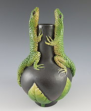 Two Conversing Lizards Vase by Nancy Y. Adams (Ceramic Vase)