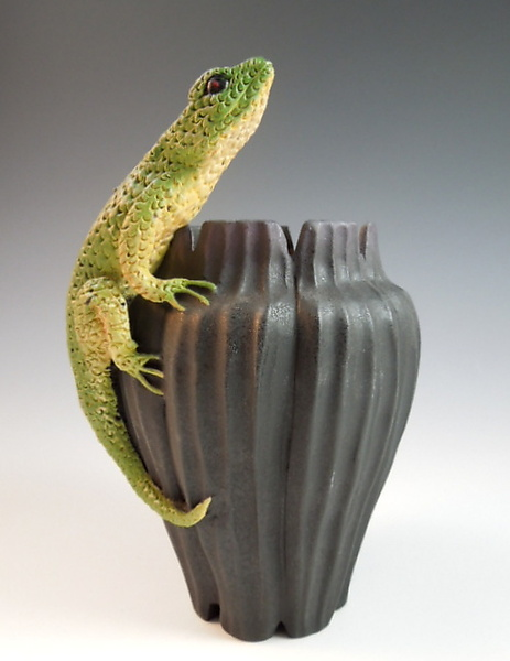 Lizard on Fluted Vase