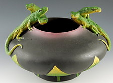 Five Lizard Bowl by Nancy Y. Adams (Ceramic Bowl)