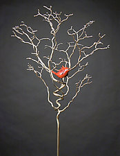 Organic with Bird 36 by Charles McBride White (Metal Sculpture)