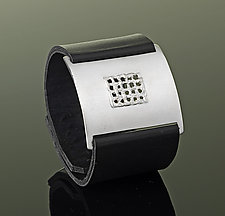 Mesh Wrist Wrap by Karen Klinefelter (Silver & Leather Bracelet)
