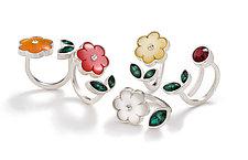 Flower Rings by Giselle Kolb (Silver& Resin Rings)