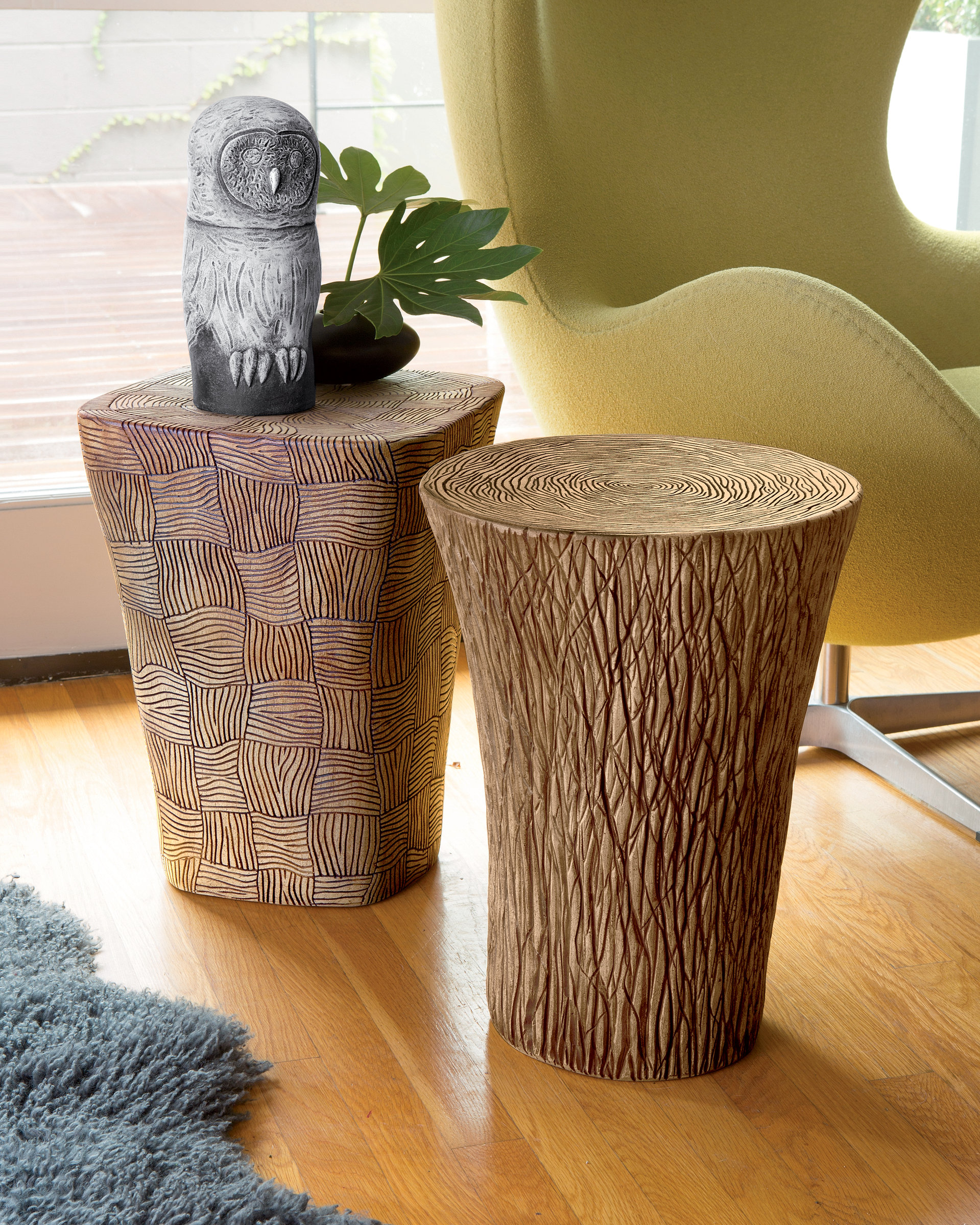 Stump And Woven Tables By Larry Halvorsen (Ceramic Side Table) | Artful Home