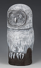 Gray Owl by Beth Ozarow (Ceramic Sculpture)