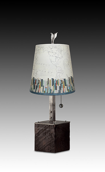 Steel Table Lamp on Wood with Small Drum Shade in Papers Edge