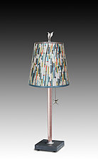 Copper Table Lamp with Small Drum Shade in Papers by Janna Ugone and Justin Thomas (Mixed-Media Table Lamp)