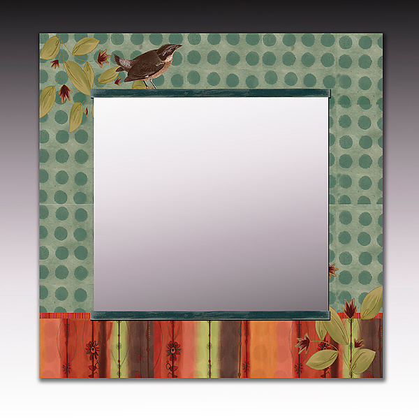 Aqua Bird Square Mirror