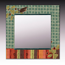 Aqua Bird Square Mirror by Janna Ugone and Justin Thomas (Mixed-Media Mirror)